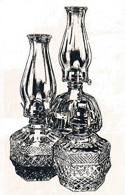 Oil Lamps Poster by Barbara Keith
