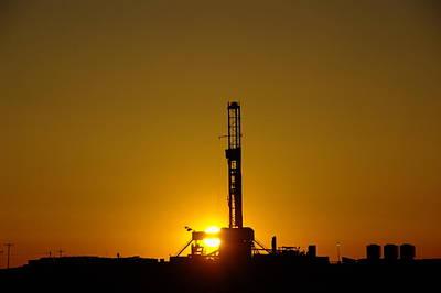Oil Rig Near Killdeer In The Morn Poster by Jeff Swan