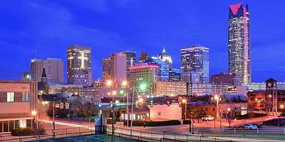 Oklahoma City Blue Hour Pano Poster by Frozen in Time Fine Art Photography