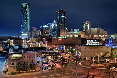 Oklahoma City Night Poster by Frozen in Time Fine Art Photography