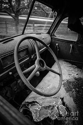 Old Abandoned Truck Interior Poster by Edward Fielding
