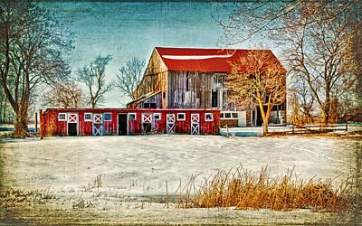 Old Barn On Forrest Road Poster by Carolyn Derstine