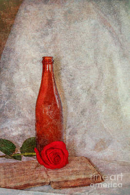 Old Book Bottle And Rose Still Life Poster by Randy Steele