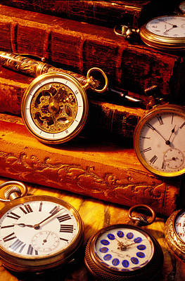 Old Books And Pocket Watches Poster by Garry Gay