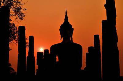 Old Buddha Silhouette In Sukhothai Historical Park Poster by Alexandre MOREAU