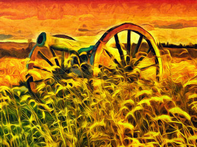 Old Cannon In A Sunset Field Poster by Georgiana Romanovna