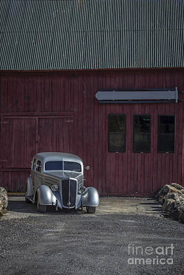Old Classic Car At The Barn Poster by Edward Fielding
