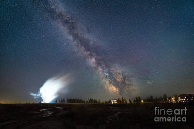 Old Faithful Milky Way Eruption  Poster by Michael Ver Sprill