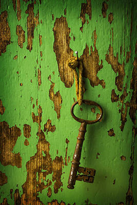 Old Key On Green Wall Poster by Garry Gay