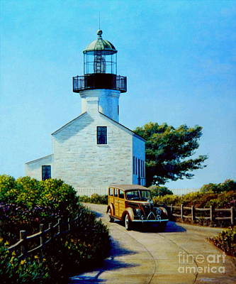 Old Lighthouse Point Loma Poster by Frank Dalton