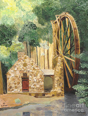 Poster featuring the painting Old Mill At Berry College by Rodney Campbell