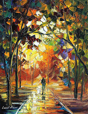 Old Park 3 - Palette Knife Oil Painting On Canvas By Leonid Afremov Poster by Leonid Afremov