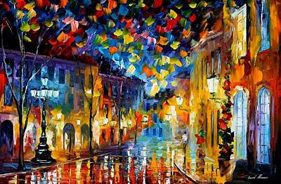 Old Part Of Town - Palette Knife Oil Painting On Canvas By Leonid Afremov Poster by Leonid Afremov