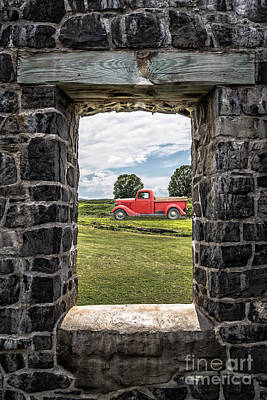 Old Red Pickup Truck Poster by Edward Fielding