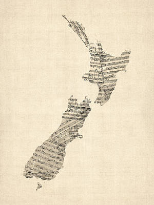 Old Sheet Music Map Of New Zealand Map Poster by Michael Tompsett