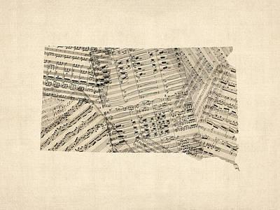 Old Sheet Music Map Of South Dakota Poster by Michael Tompsett
