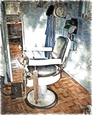Old Time Barber Shop Sketch 2 Poster by Marty Koch