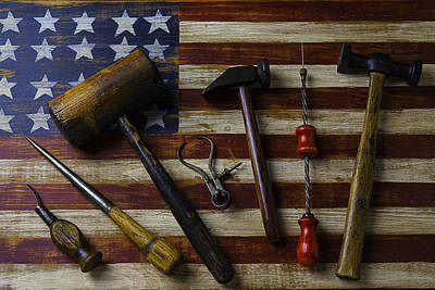 Old Tools On Wooden Flag Poster by Garry Gay