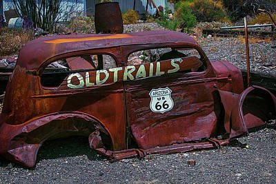 Old Trails Rusty Car Route 66 Poster by Garry Gay
