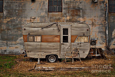 Old Vintage Rv Camper In The Mississippi Delta Poster by T Lowry Wilson