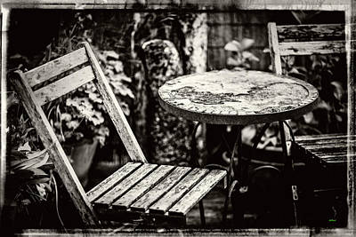 Old Wood Table And Chairs Poster by KJ DePace