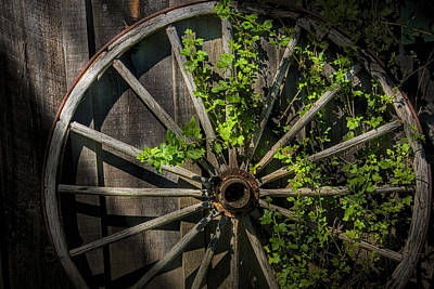 Old Wooden Wagon Wheel Poster by Randall Nyhof