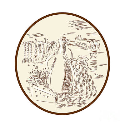 Olive Oil Jar Cheese Tuscan Countryside Etching Poster by Aloysius Patrimonio