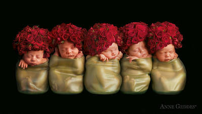Olivia, Alice, Hugo, Imogin-rose & Mya As Roses Poster by Anne Geddes