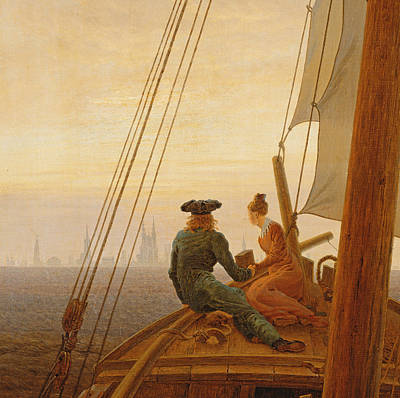 On Board A Sailing Ship Poster by Caspar David Friedrich