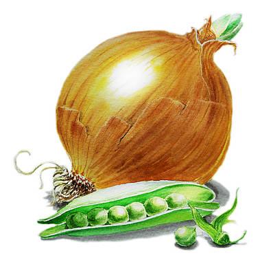 Onion And Peas Poster by Irina Sztukowski