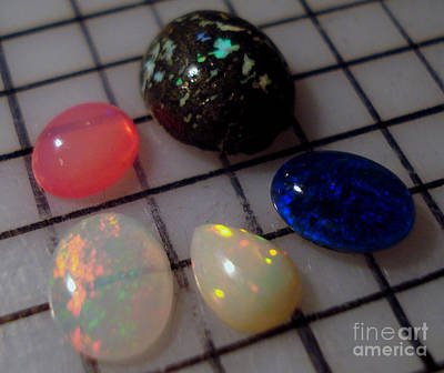 Opal Cabochons Poster by Neon Flash