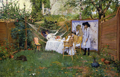 Open Air Breakfast Poster by William Merritt Chase
