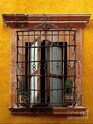 Open Window In Ochre Poster by Mexicolors Art Photography