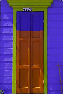 Orange And Blue Door Poster by Garry Gay