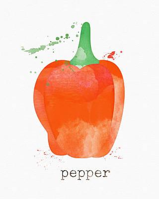 Orange Bell Pepper  Poster by Linda Woods