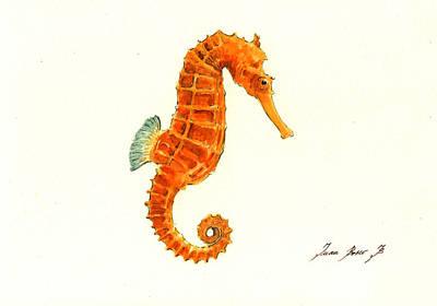 Orange Seahorse Poster by Juan Bosco