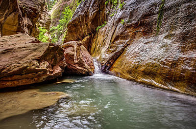 Orderville Canyon Waterfall Zion National Park Poster by Scott McGuire