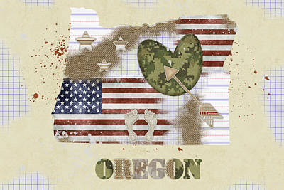 Oregon Mixed Media Map Poster by Mihaela Pater