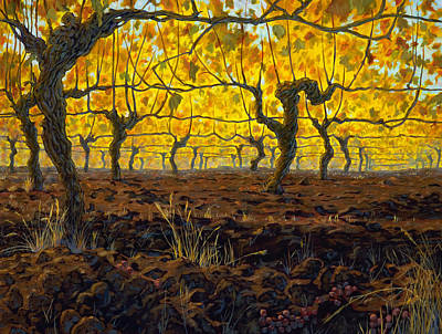 Oregon Vineyard Golden Vines Poster by Michael Orwick