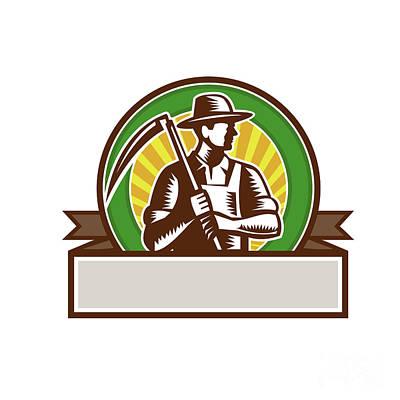 Organic Farmer Holding Scythe Circle Woodcut Poster by Aloysius Patrimonio