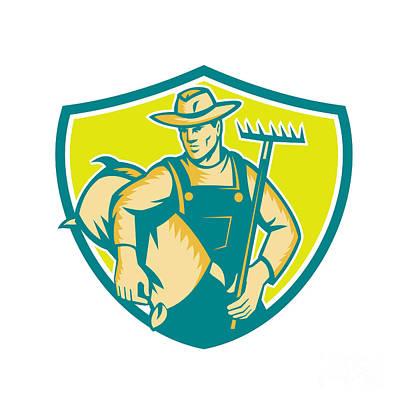 Organic Farmer Rake Sack Shield Woodcut Poster by Aloysius Patrimonio