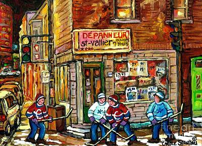 Original Hockey Art Painting For Sale Depanneur St Vallier Blvd Rosemont Quebec Snow Scene Canadian  Poster by Carole Spandau