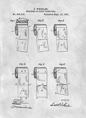 Original Toilet Paper Roll Patent Drawing Poster by Dan Sproul