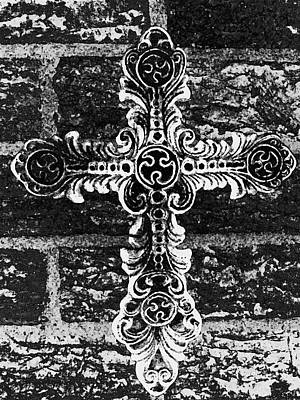 Ornate Cross 3 Bw Poster by Angelina Vick