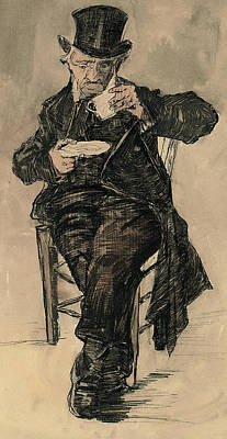Orphan Man With A Top Hat Drinking A Cup Of Coffee Poster by Vincent Van Gogh