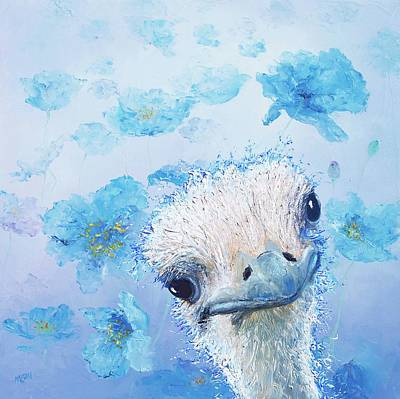 Ostrich In A Field Of Poppies Poster by Jan Matson
