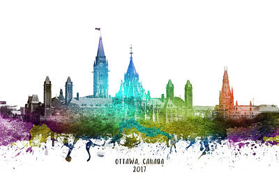 Ottawa Capital Hill Skyline - Stephanie Poster by Aged Pixel
