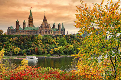 Ottawa Parliament Hill Autumn Poster by Charline Xia