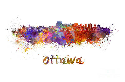 Ottawa Skyline In Watercolor Poster by Pablo Romero