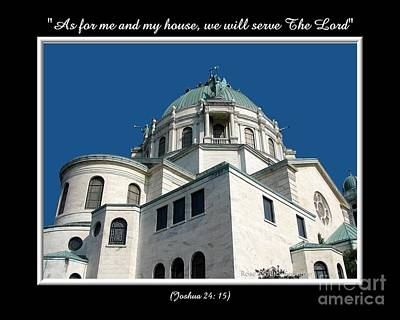 Our Lady Of Victory Basilica With Bible Quote Poster by Rose Santuci-Sofranko